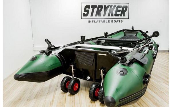 A green Stryker Pro inflatable boat.