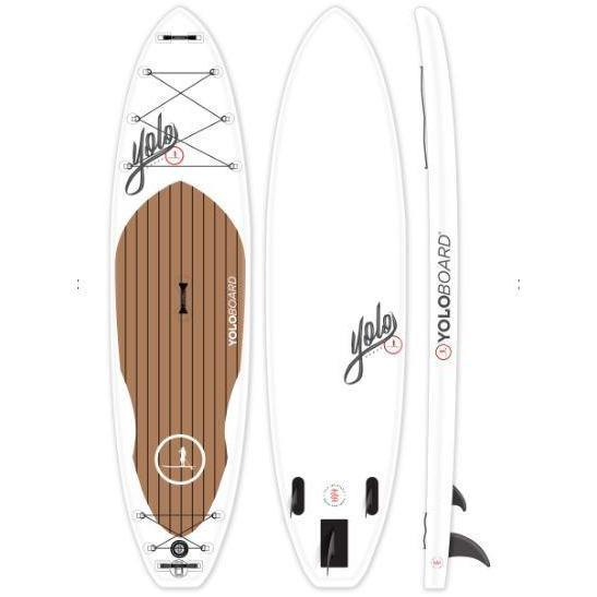 A stock image of the Yolo Yacht 11' inflatable stand up paddle board.