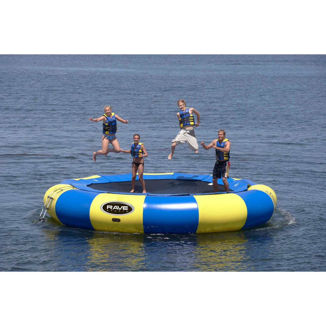 4 person enjoying the Bouncer - Rave Aqua Jump Eclipse 200 Water Trampoline 00200
