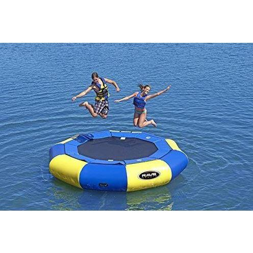 2 person jumping on Rave Sports Aqua Jump 120 Water Trampoline 00120