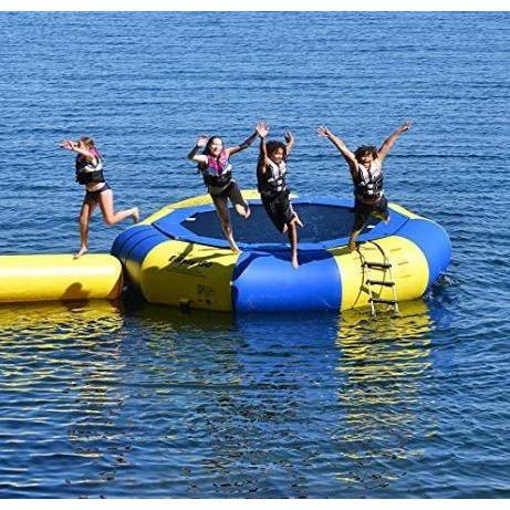 4 people jumping out the Rave Sports Aqua Jump Eclipse 150 Water Trampoline 00150