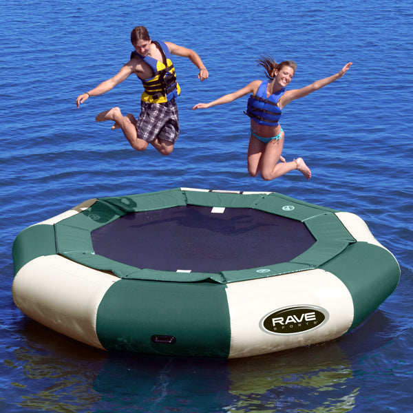2 people jumping in Rave Sports Aqua Jump Eclipse 120 Northwood's Water Trampoline 00121
