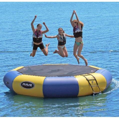 3 woman jumping in Rave Sports Bongo Bouncer 13 - 13' Springless Water Bouncer 02008