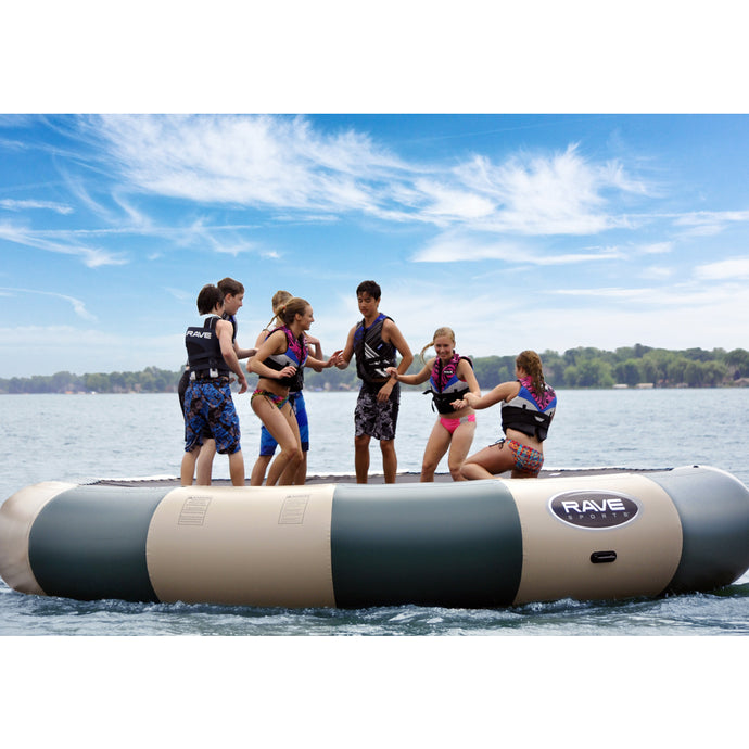 7 people in Rave Sports Northwood's Bongo Bouncer 20 - 20' Springless Water Bouncer 02021