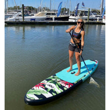 "Load image into Gallery viewer, Inflatable Paddle Board - POP Board Co 10'6"" Royal Hawaiian Mint/ Black"