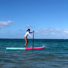 "Load image into Gallery viewer, Inflatable Paddle Board - POP Board Co 10'6"" Royal Hawaiian Pink/ Black"