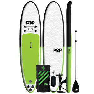 "Inflatable Paddle Board - POP Board Co 11'0"" The POP Up Green/ Black"