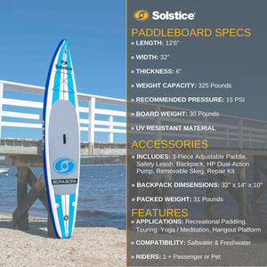 Inflatable Paddle Board - Solstice Watersports Bora Bora Inflatable Stand-up Paddleboard 35150KIT Ships End Of November