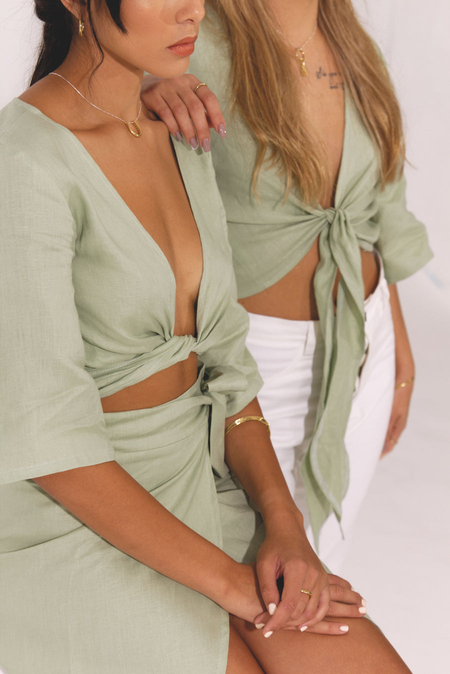 The Wrap Top in Basil