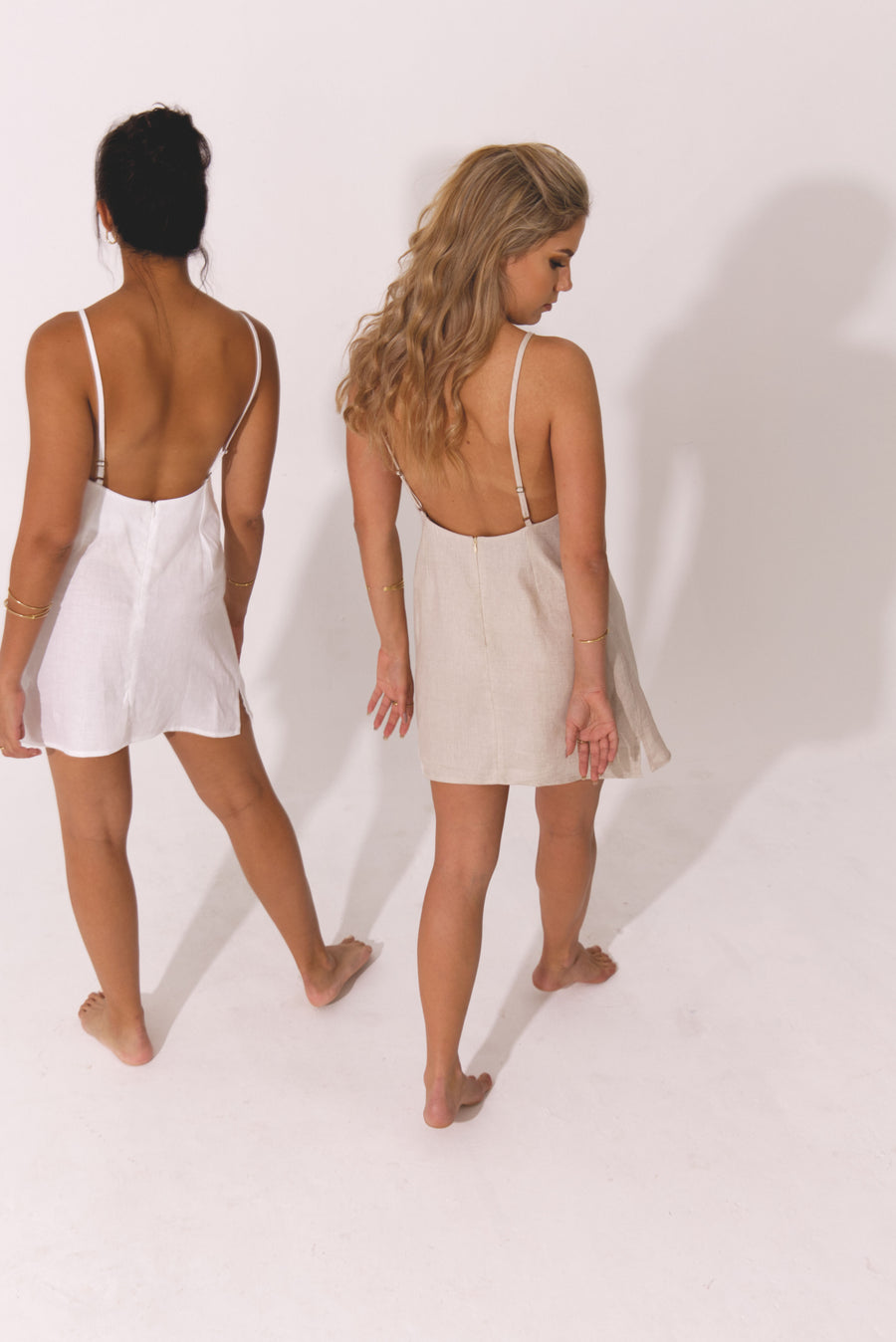 The Mini Slip Dress in Natural