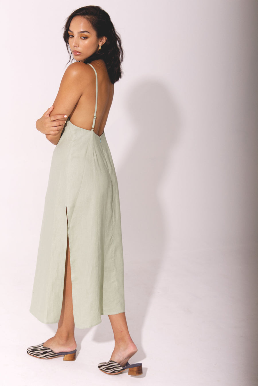The Full Length Slip Dress in Basil