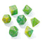 Seabed Treasure Yellow & Green Glitter Resin 7pc Dice Set | Rollacrit