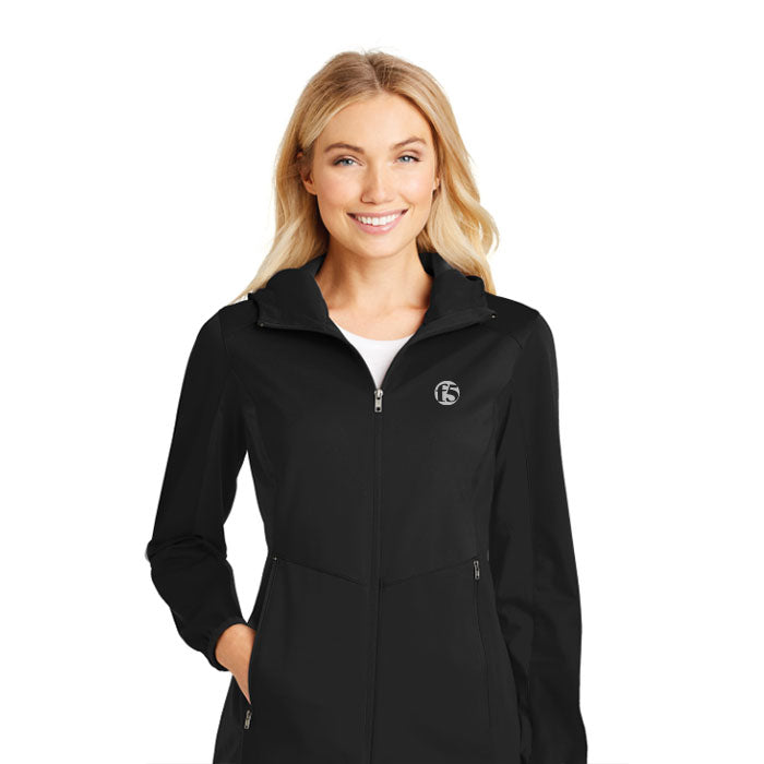 PORT AUTHORITY LADIES ACTIVE HOODED SOFT SHELL JACKET - BLACK