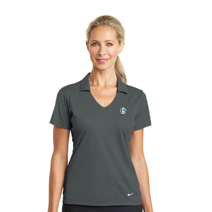 LADIES NIKE DRI-FIT VERTICAL MESH POLO - ANTHRACITE