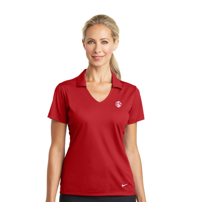 LADIES NIKE DRI-FIT VERTICAL MESH POLO - RED