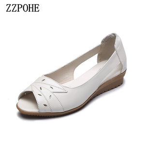 ZZPOHE  Summer Female Shoes Woman  Leather Soft low-heel Sandals - FashionBunkers