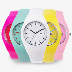 Cream Color Ultra-thin Fashion Gift Silicone Strap Leisure Watch - FashionBunkers