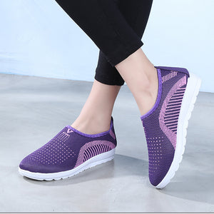 Women's Mesh Flat Shoes Patchwork Slip-on Cotton Casual Shoes - FashionBunkers
