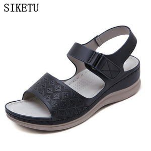 SIKETU 2020 summer new soft leather sweet ladies sandals - FashionBunkers