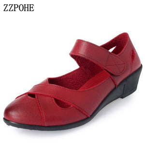 ZZPOHE 2020 summer shoes women leather casual wedges shoes sandals - FashionBunkers