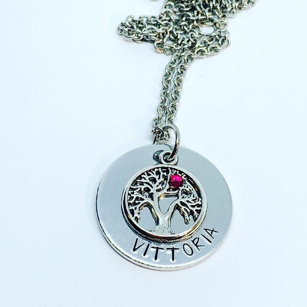 Tree of Life (Birthstone Optional) - Hand Stamped Necklace - Personalize Me!