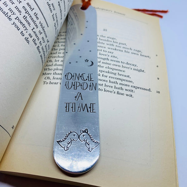 Once Upon a Time Dinos - Hand Stamped Bookmark