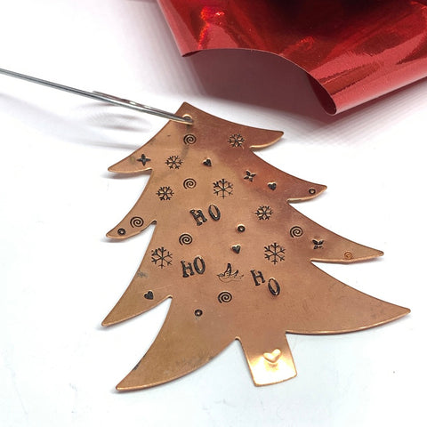 Ho Ho Ho Christmas Tree - Hand Stamped Ornament