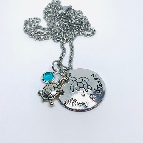 Slow & Steady Turtle - Hand Stamped Necklace