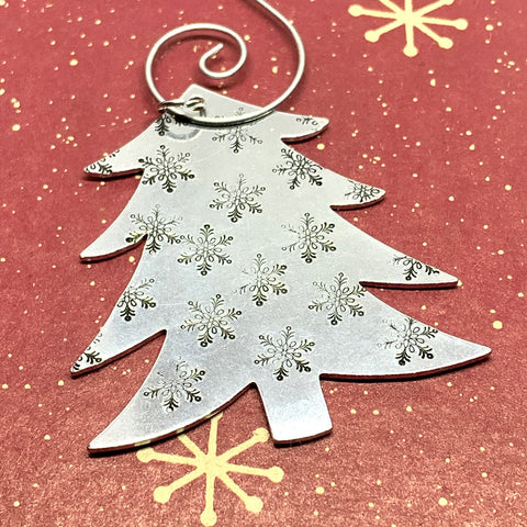 Snowflake Christmas Tree - Hand Stamped Ornament