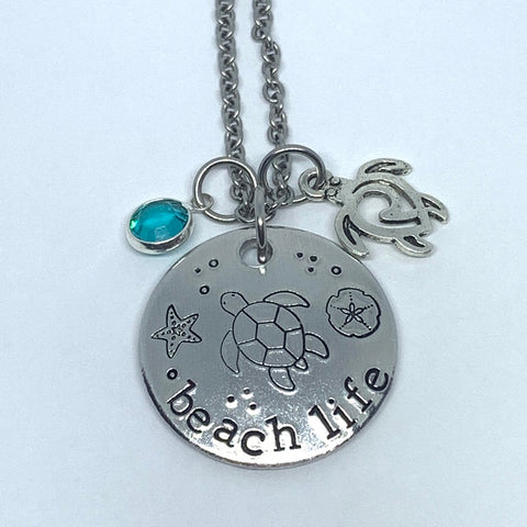 Beach Life - Hand Stamped Necklace