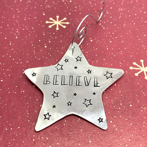 BELIEVE - Hand Stamped Pewter Star-Shaped Ornament | Christmas Tree Ornament | Hand Stamped Star Ornament