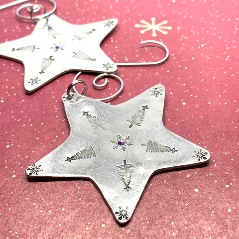 Star - Hand Stamped Ornament