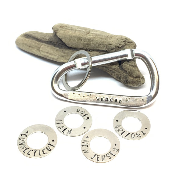 Hand Stamped Carabiner Washers - Personalize Me!