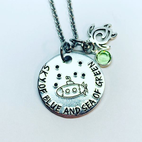 ... sky of blue and sea of green - Hand Stamped Necklace