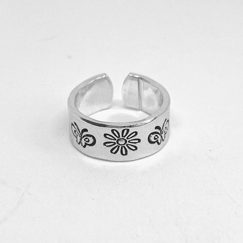 Daisy Flowers, Butterflies and Bees - Hand Stamped Toe Ring