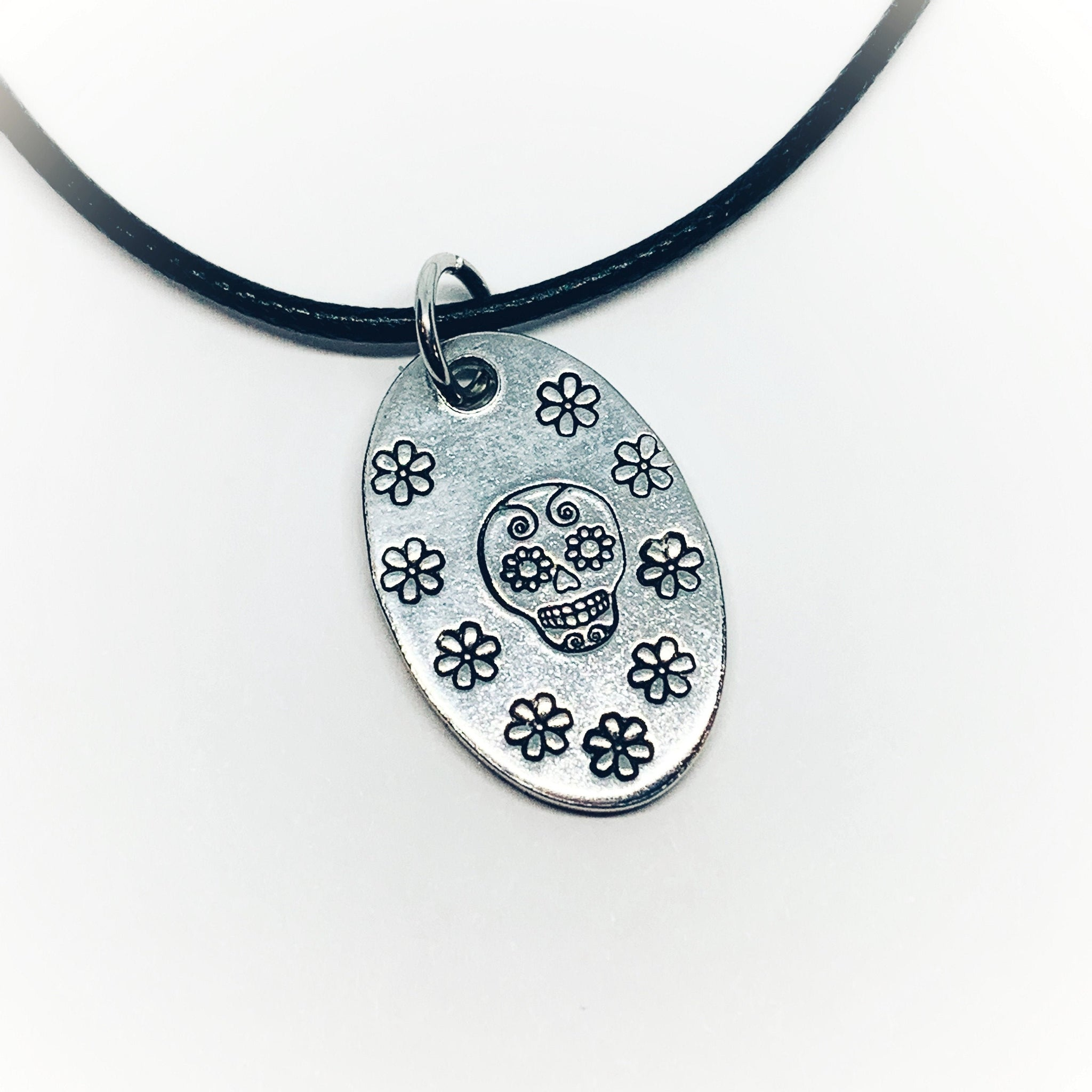 Sugar Skull Daisy Flowers - Hand Stamped BoHo Necklace
