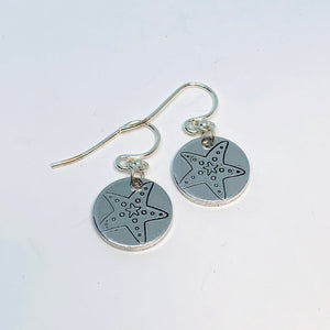 Sea Star Starfish - Hand Stamped Earrings