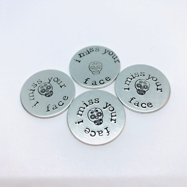 Sugar Skull Virtual Hug - Hand Stamped Pocket Love Token