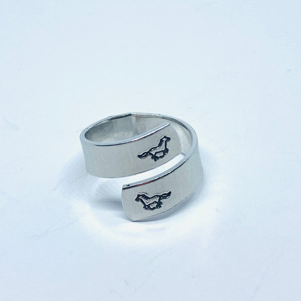 Horses and Horseshoe - Hand Stamped 18g Aluminum Wrap Ring