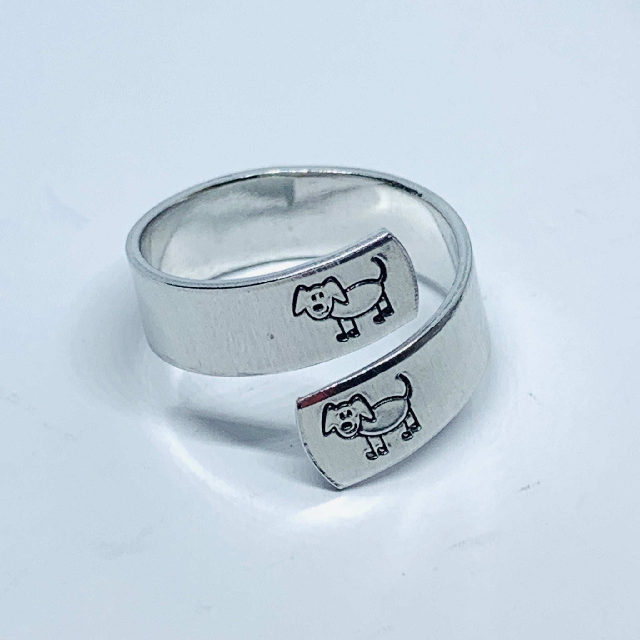 Puppy Dogs - Hand Stamped 18g Aluminum Wrap Ring