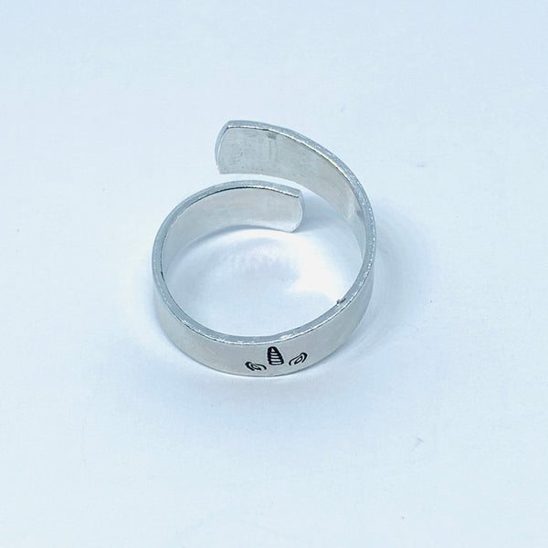 Unicorn Horn and Ears - Hand Stamped 18g Aluminum Wrap Ring