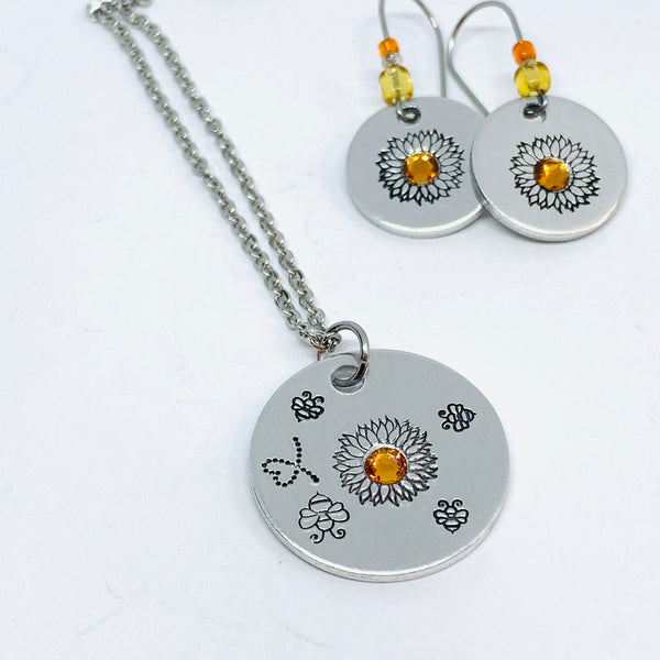 Sunflower and Bumblebees with Swarovski Crystal - Hand Stamped Necklace