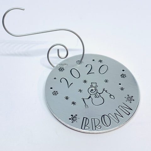 Snowman Annual Family - Hand Stamped Ornament - Personalized!