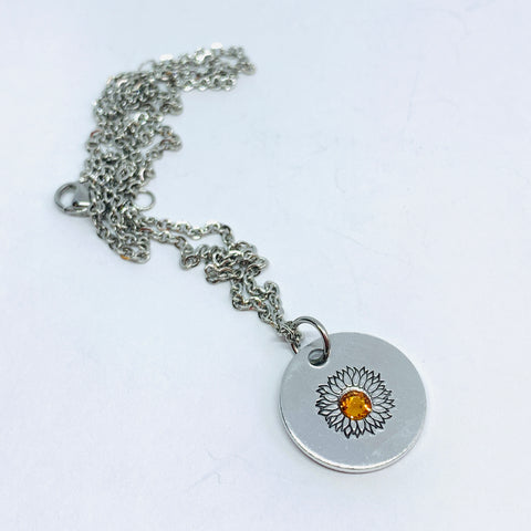 Sunflower with Swarovski Crystal - Hand Stamped Necklace