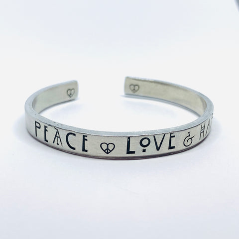 Peace Love Happiness - Hand Stamped Cuff Bracelet