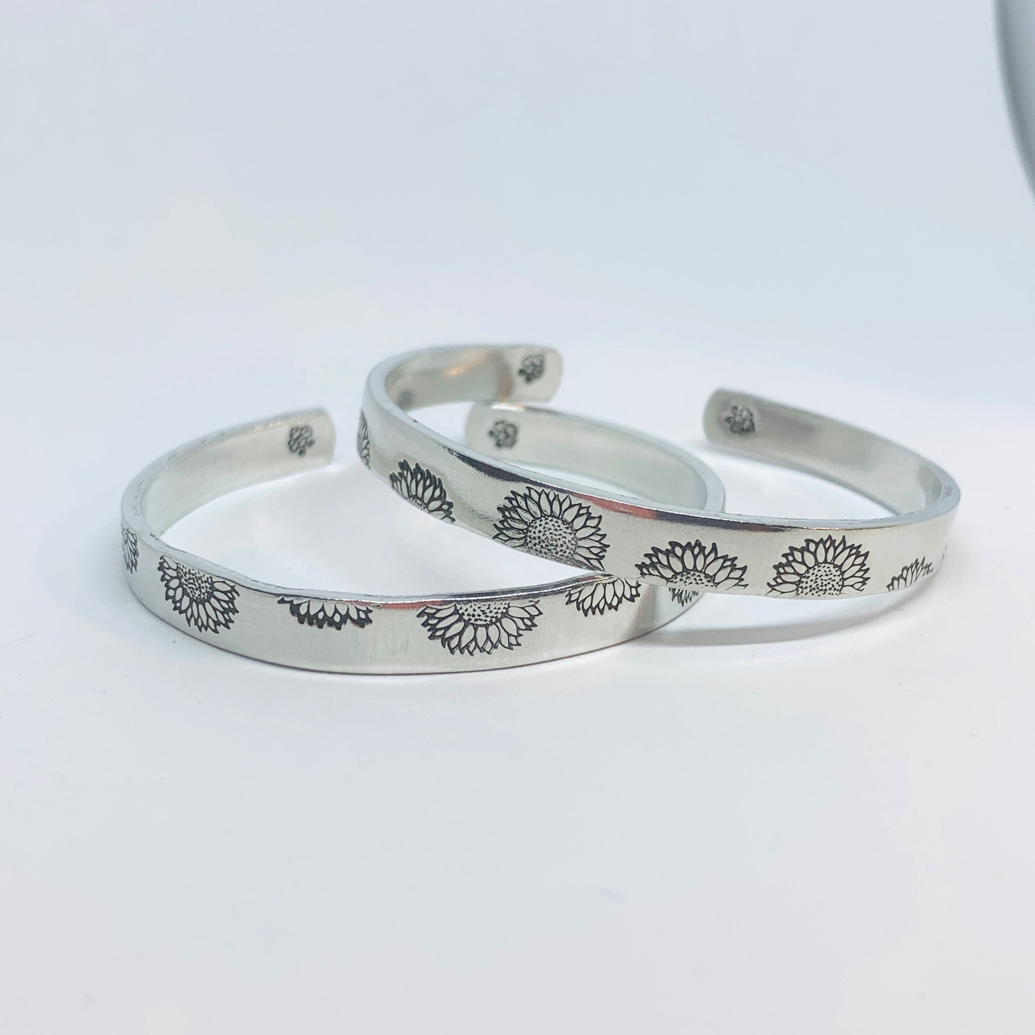 Sunflowers (Stacking Pair) - Hand Stamped Cuff Bracelet