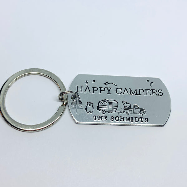 Happy Campers Personalized - Hand Stamped Key Ring