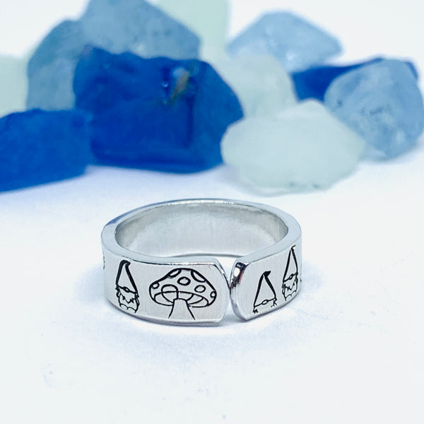 Gnome Toadstool Hand Stamped Ring | Gnomies Ring | Gift for Her | Gnome Ring | Garden Mushrooms | Fun unique gift