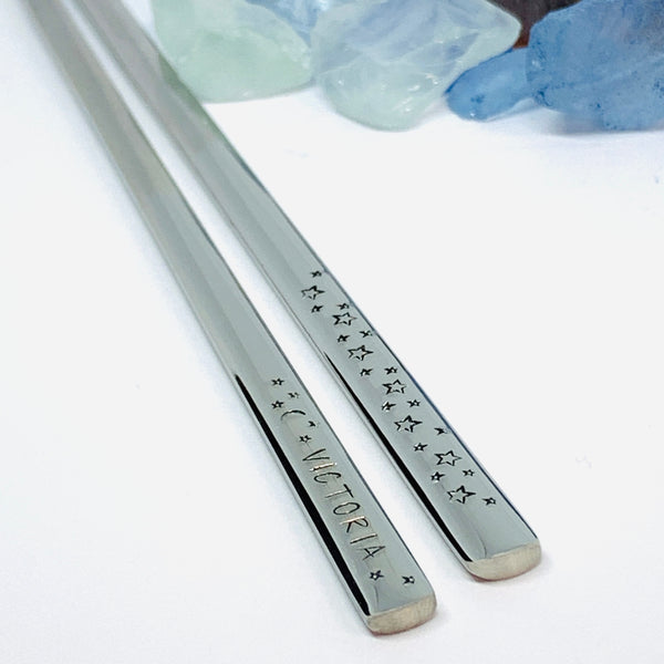 Personalized Chopsticks | Hand Stamped Stainless Steel Chopsticks | Customized Utensils | Housewarming Gifts for Couples