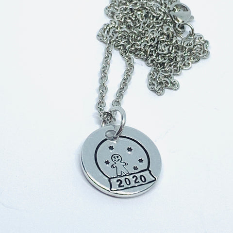 Snow Globe - Hand Stamped Necklace